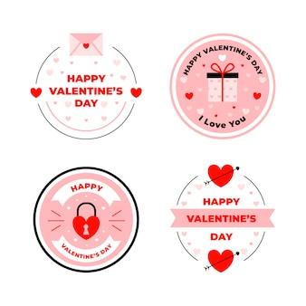 Flache design valentinstag abzeichen sammlung