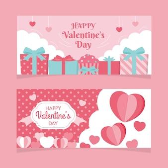 Flache design valentinstag banner vorlage