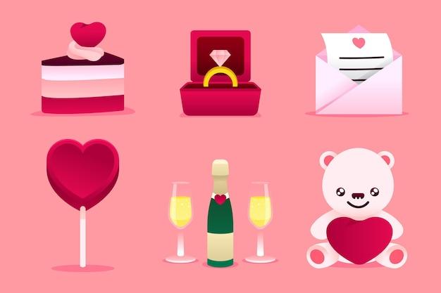 Flache design valentinstag element sammlung