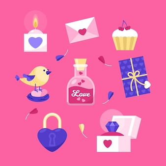 Flache design valentinstag elemente gesetzt