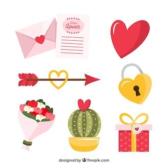Flache design valentinstag elementsammlung