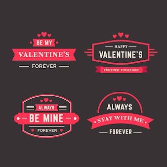 Flache design valentinstag etiketten