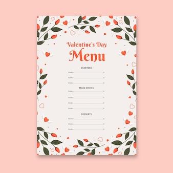 Flache design valentinstag menüvorlage