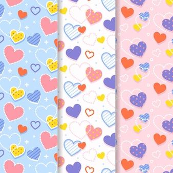 Flache design valentinstag musterkollektion