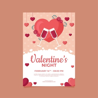 Flache design valentinstag party flyer vorlage