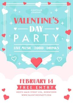 Flache design valentinstag party flyer vorlage