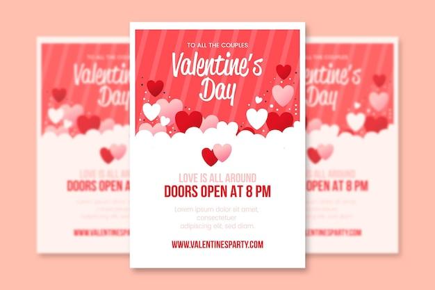 Flache design valentinstag party flyer