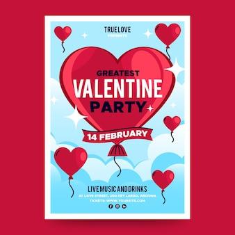 Flache design valentinstag party poster vorlage Premium Vektoren