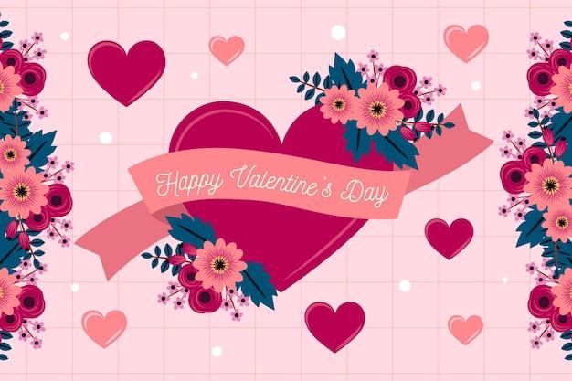 Flache design valentinstag tapete mit blumenherz