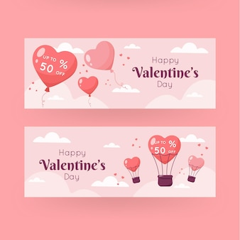 Flache design valentinstag verkauf banner vorlage