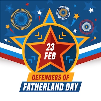 Flache design-verteidiger des vaterlandes tag 23 februar