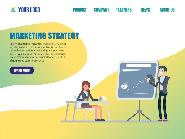 Flache design-webseitenvorlagen der marketingstrategie