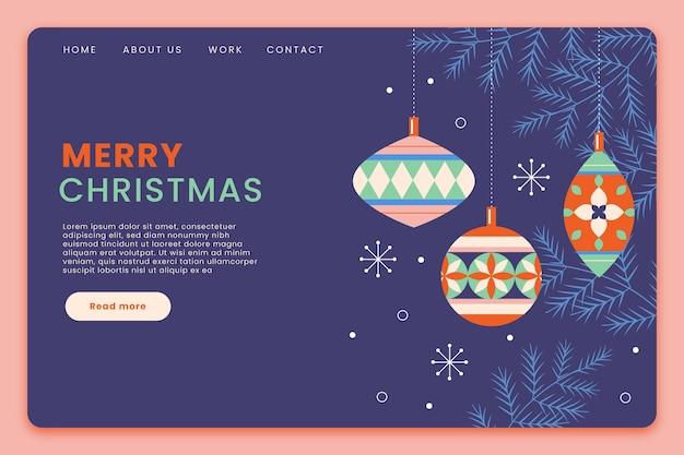Flache design weihnachten landingpage vorlage
