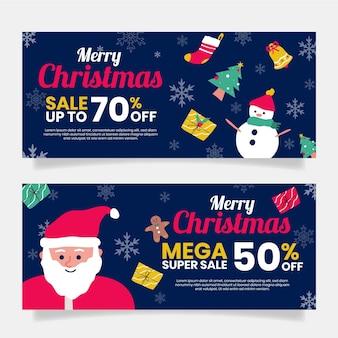 Flache design weihnachten verkauf banner vorlage