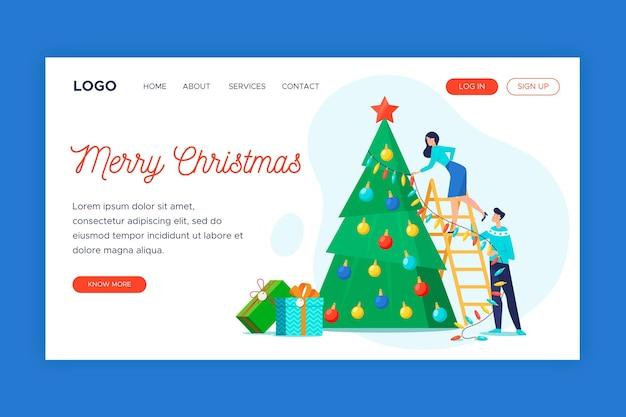 Flache design weihnachten web-vorlage