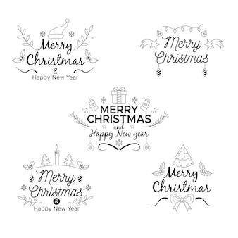 Flache design-weihnachtsabzeichen-sammlung