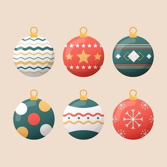 Flache design-weihnachtsballverzierungen