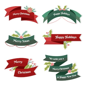 Flache design-weihnachtsbandkollektion