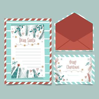 Flache design-weihnachtsbriefpapierschablone
