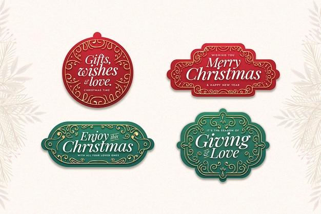 Flache design-weihnachtsetikettenkollektion