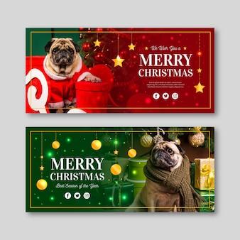 Flache design-weihnachtsfahnen mit foto des mops