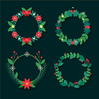 Flache design-weihnachtskranzkollektion