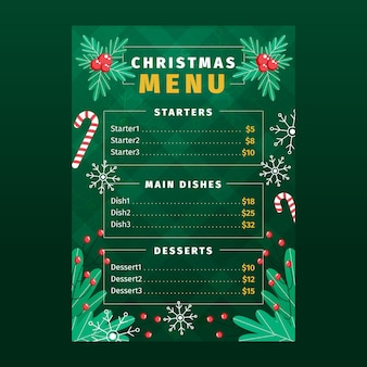 Flache design-weihnachtsmenüschablone mit kranz