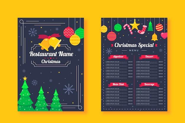 Flache design-weihnachtsmenüschablone