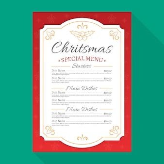 Flache design-weihnachtsmenüschablone Premium Vektoren
