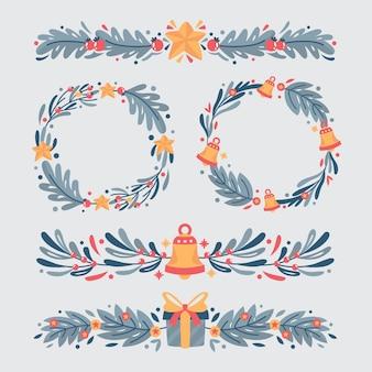 Flache design-weihnachtsrahmen und -grenzen