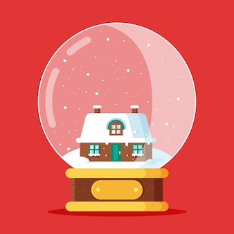 Flache design-weihnachtsschneeballkugel