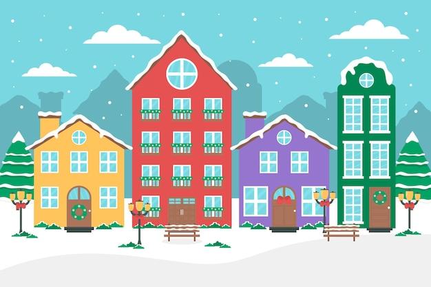 Flache design-weihnachtsstadt