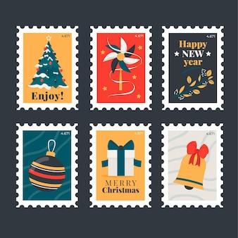 Flache design-weihnachtsstempelsammlung