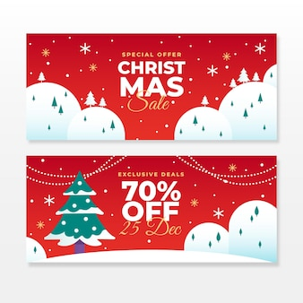Flache design weihnachtsverkauf banner vorlage