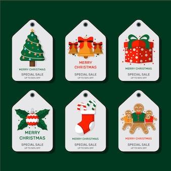 Flache design-weihnachtsverkaufs-tag-sammlung