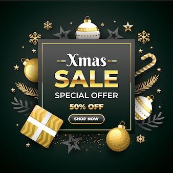 Flache design-weihnachtsverkaufsaktion mit goldenen und grauen dekorationen