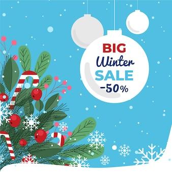 Flache design winter sale promo