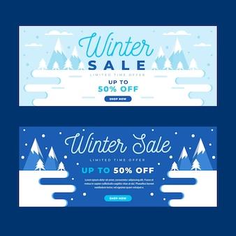 Flache design winter verkauf banner vorlage