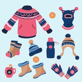Flache design winterkleidung und essentials