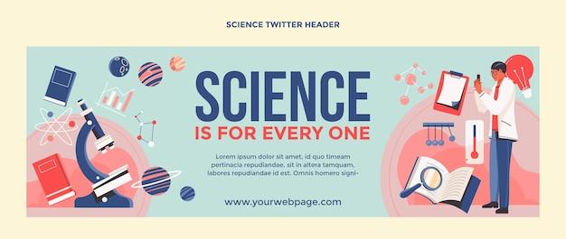 Flache design-wissenschafts-twitter-header-vorlage