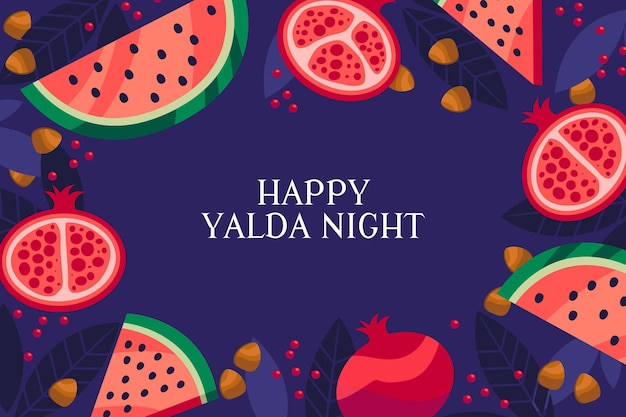 Flache design yalda nacht mit wassermelone und granatapfel