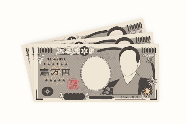 Flache design yen banknoten