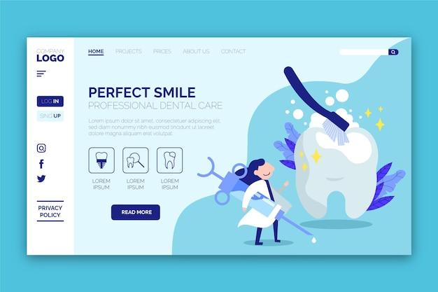 Flache design-zielseitenvorlage für zahnpflege