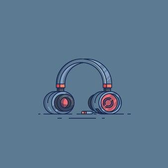 Flache designabbildungen des headsets