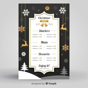 Flache designart der eleganten weihnachtsmenü-schablone