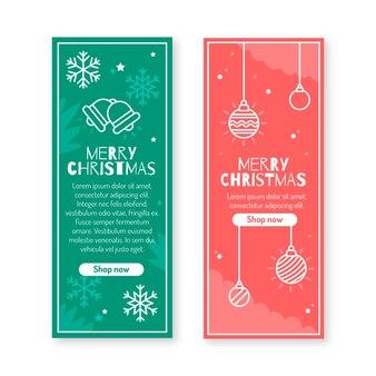 Flache designart der fahnen der frohen weihnachten