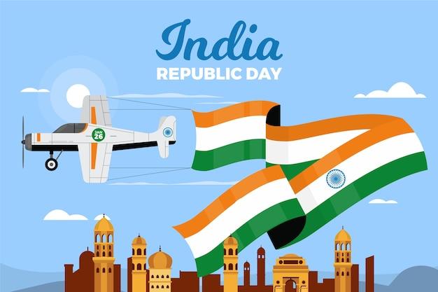 Flache designart der indischen republik-tages