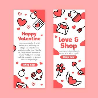 Flache designart der valentinstagfahnen