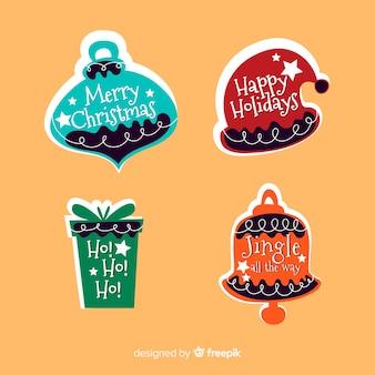 Flache designart der weihnachtsaufklebersammlung