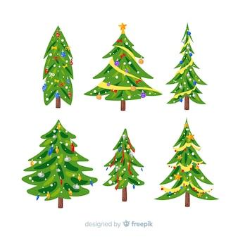 Flache designart der weihnachtsbaum-sammlung